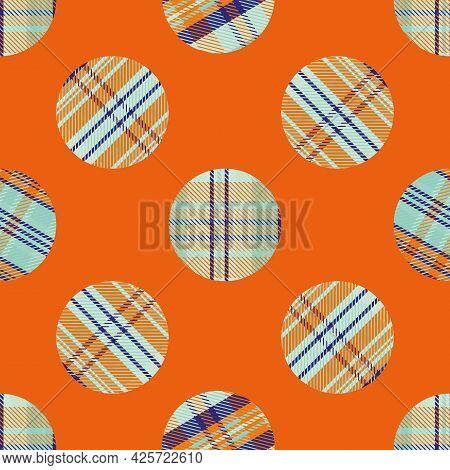 Woven Tartan Circles Seamless Vector Pattern Background. Neon Tropical Color Plaid Circle Shapes Bac