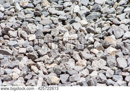 Gray Gravel Stones For The Construction Industry. Gravel Texture In Garden