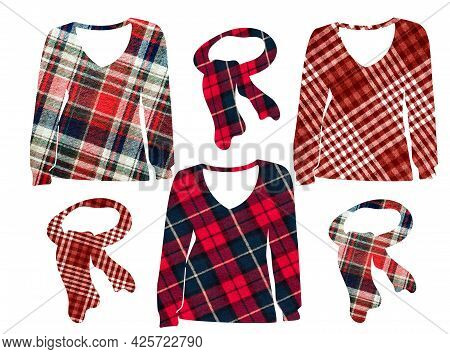 Women's Sweater, Jacket And Bandage In A Cage. Can Be Used As Stickers, Decorative Element, Magnets,