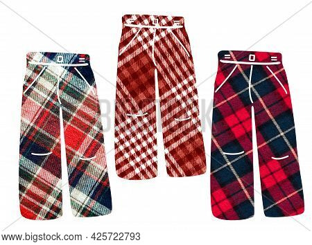 Checkered Trousers. Can Be Used As Stickers, Decorative Element, Magnets, Cut Out And Turned Into De