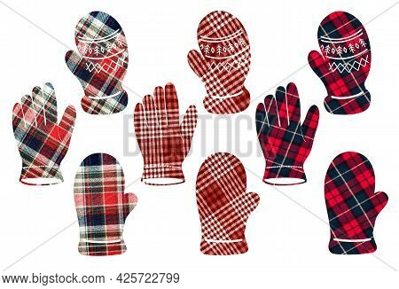 Mittens And Gloves In A Cage. Can Be Used As Stickers, Decorative Element, Magnets, Cut Out And Turn
