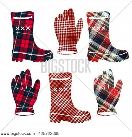 Boots And Gloves In A Cage. Can Be Used As Stickers, Decorative Element, Magnets, Cut Out And Turned