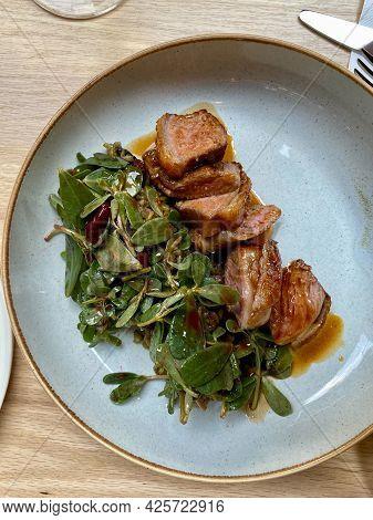 Lamb Back Meat With Firik, Freek Or Frikeh Bulgur Rice At Lunch Table Local Restaurant.