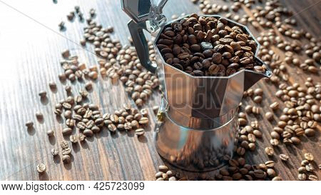 Geyser Coffee Maker, Coffee Beans Top View, Background From Coffee. Turk With Grains.