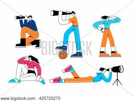People Looking Into Future Choosing Direction Of Development. People Look Through Binoculars, Spygla