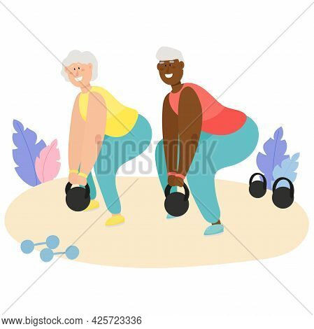 Active Elderly Couple Go In For Sports. Grandmother And Black Grandfather Lead A Healthy Lifestyle.