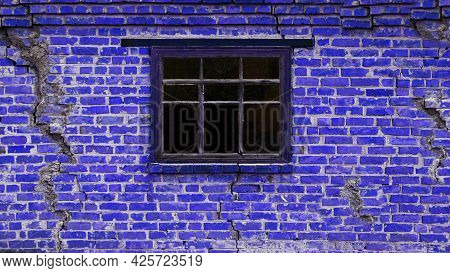 Background Of An Old Brick House With A Wooden Window. The Wall Is Brick Blue With Cracks And A Wind