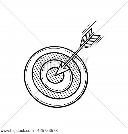 Dart Board With Arrow In The Centre. Goal Achieving Concept. Sketch Icon On White Background. Vector