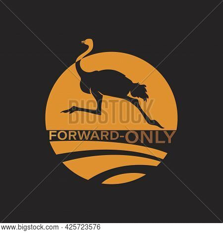 Ostrich Logo. Forward Only. Gold, Orange Color Icon Design Vector Illustration. Silhouette Ostrich