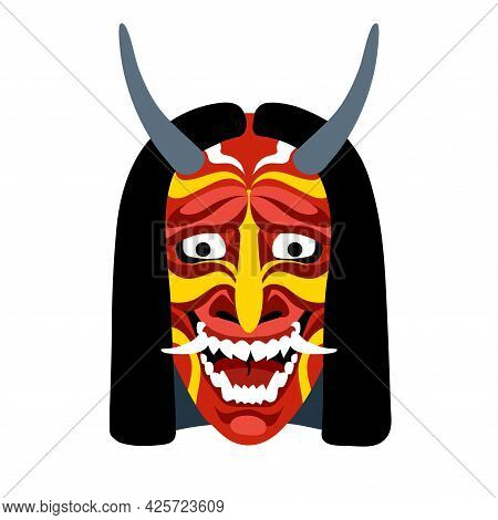 Hannya, Japanese Theatrical Mask Of An Angry Jealous Woman, Demon, Monster, Color Vector Illustratio