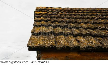 Antique Slate Roof. The Roof Of The House Is Rural.