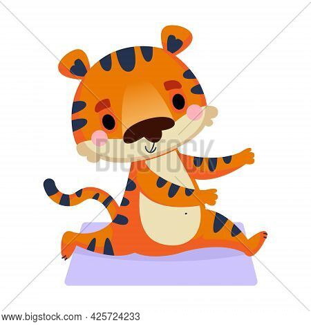 A Cute Tiger Cub Sits On A Twine And Stretches. Vector Illustration In Cartoon Childish Style Of An