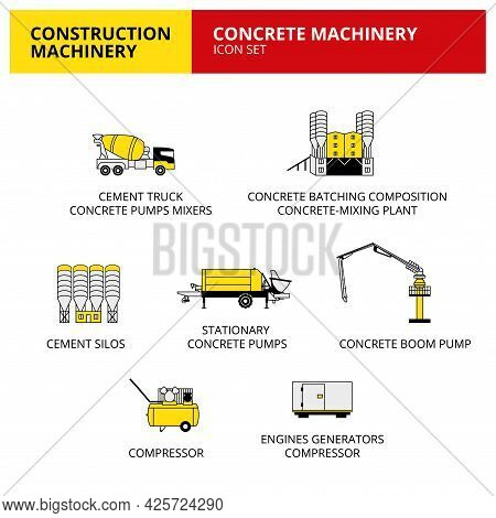 Concrete Machinery Vehicle And Transport Car Construction Machinery Icons Set Vector