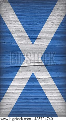 Flag Of Scotland On A Dry Wooden Surface. Vertical Mobile Phone Wallpaper. Vintage Background Of Old
