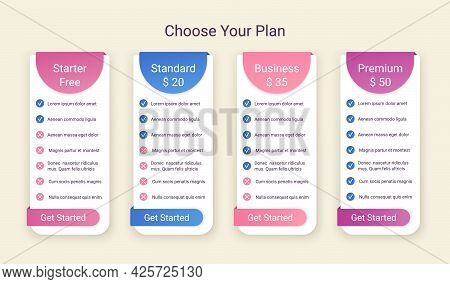 Price Table Template. Comparison Chart Grid. Vector. Pricing Data Layout. Spreadsheet Page With 4 Co