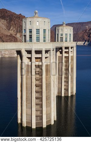 A Prolonged Drought In The West, The Reservoir Created By The Hoover Dam, Pictured Here In 2010, Sun
