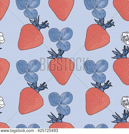 Vector Pastel Blue Background Garden Strawberries, Berry Flowers, Berries Fruits. Seamless Pattern B