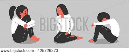 Psychology. Set Of Men And Women In Depression And Despair. A Woman And A Man Are Experiencing Menta