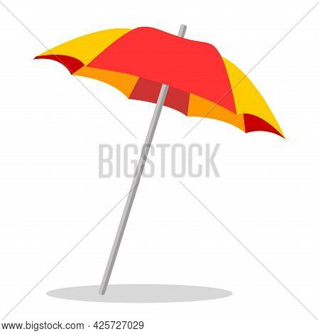 Beach Umbrella Vector Icon On A White Background. Illustration Of An Umbrella Isolated On White. The