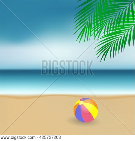 Seascape Of Summer Holidays. Beach Scene With A Ball, The Sea Shore And The Horizon. Vector Illustra