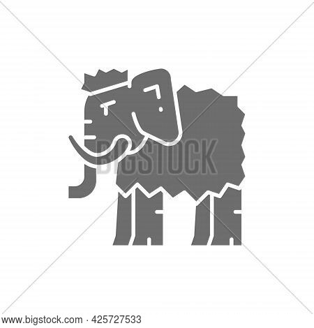 Mammoth, Prehistoric Animal Gray Icon. Isolated On White Background