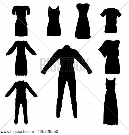 Set With Silhouettes Of Clothes, Dresses, Suits Isolated On White Background. Vector Illustration