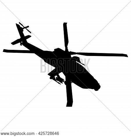 Combat Helicopter Silhouette Isolated On White Background. Isometric View. Vector Illustration