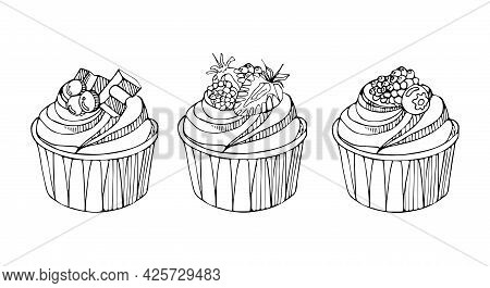 Set Of Cupcakes With Blackberries, Blueberries, Strawberries And Chocolate. National Cupcake Day. Sw