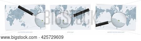 Blue Abstract World Maps With Magnifying Glass On Map Of French Guiana With The National Flag Of Fre