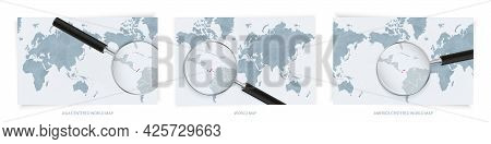 Blue Abstract World Maps With Magnifying Glass On Map Of Panama With The National Flag Of Panama. Th