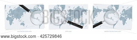 Blue Abstract World Maps With Magnifying Glass On Map Of Belize With The National Flag Of Belize. Th