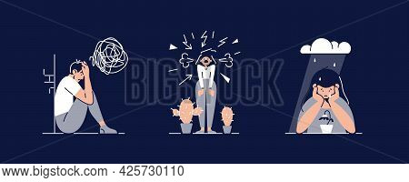 Stress, Anxiety, Depression Set Vector Illustrations. People Suffers From Mental Psychological Disea