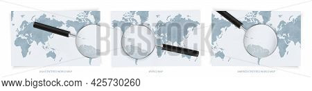 Blue Abstract World Maps With Magnifying Glass On Map Of Saint Lucia With The National Flag Of Saint