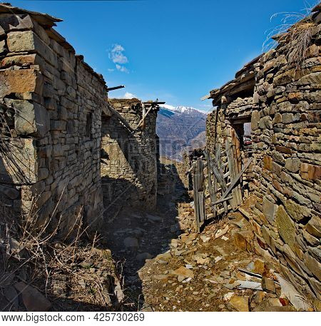 Russia. North-eastern Caucasus,  Dagestan. The Stone Houses Of The Abandoned Part Of The Mountain Vi