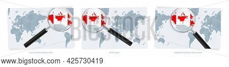 Blue Abstract World Maps With Magnifying Glass On Map Of Canada With The National Flag Of Canada. Th