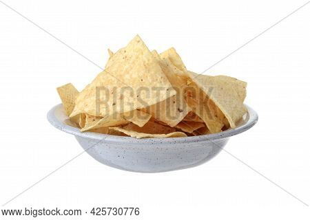 Isolated Bowl Of Nacho Chips On A White Background