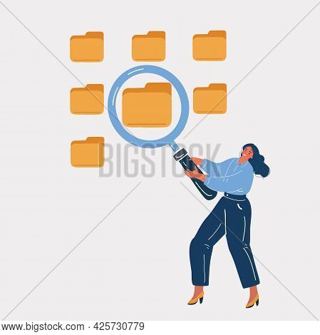 Vector Illustration Of Lot Of Folders, Woman Searching And Indexing Files With Magnifying Glass. Fil