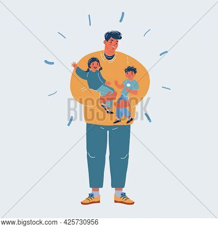 Vector Illustration Of Happy Father With Two Kids. Son And Daughter. Man Hold Boy And Girl.