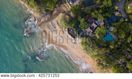 Aerial View Of Nangthong Natural Black Beach In Thailand,kholak Phangnga Province, Amazing And Unsee