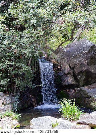 Waterfall In The Vorontsov Park Of The City Of Yalta On The Crimean Peninsula