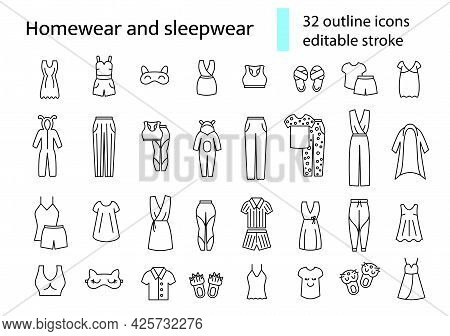 Homewear And Sleepwear Outline Icons Set. Comfortable Clothes. Comfy Garment. Customizable Linear Co