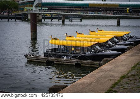 29 June 2021 Rotterdam; The Netherlands; Famous Rotterdam Water Taxi, Tourist Attraction As Well As