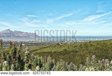 View Of Die Strand And Gordons Bay As Seen From The Helderberg Nature Reserve Near Somerset West