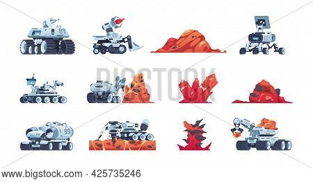 Cartoon Rover. Alien Planet Exploration Transport With Manipulators For Soil Samples. Red Rocks And