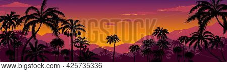 Palm Tree Silhouette Background. California Sunset Landscape With Exotic Plants On Horizon. Tropical