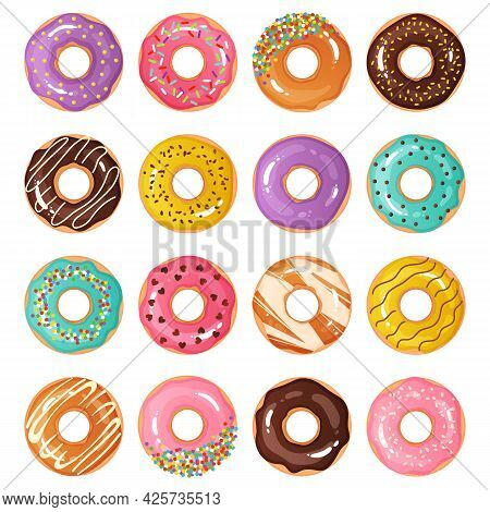 Cartoon Donuts. Cute Sweet Cupcakes. Colorful Chocolate Decorative Desserts With Confectionery. Tast