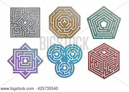 Labyrinth Game. Maze Riddle For Finding Right Path. Wrong Way To Exit Concept. Geometric Square Map