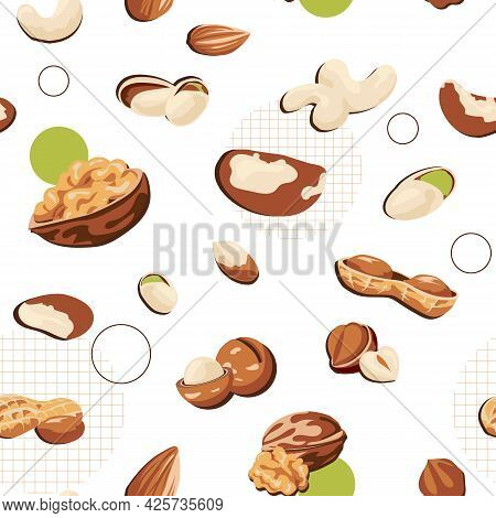 Nuts And Seeds Pattern. Cartoon Seamless Texture Of Healthy Walnut Nutrition. Organic Peanut And Mac