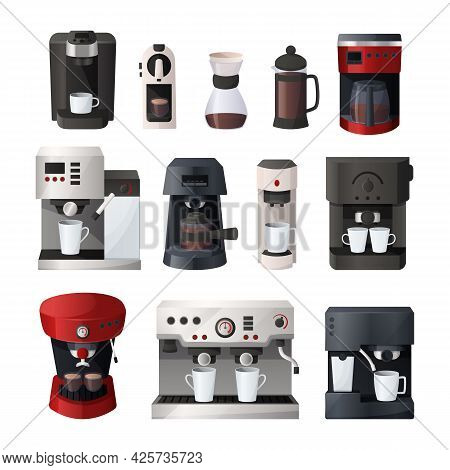 Coffee Maker. Cartoon Espresso Machine And Filtered Glasses. Morning Drink Preparing Process. Kitche