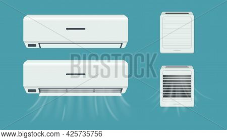 Air Conditioner And Breather. Cold Flow From Climate Control Equipment. Office And Home Purifier Wit